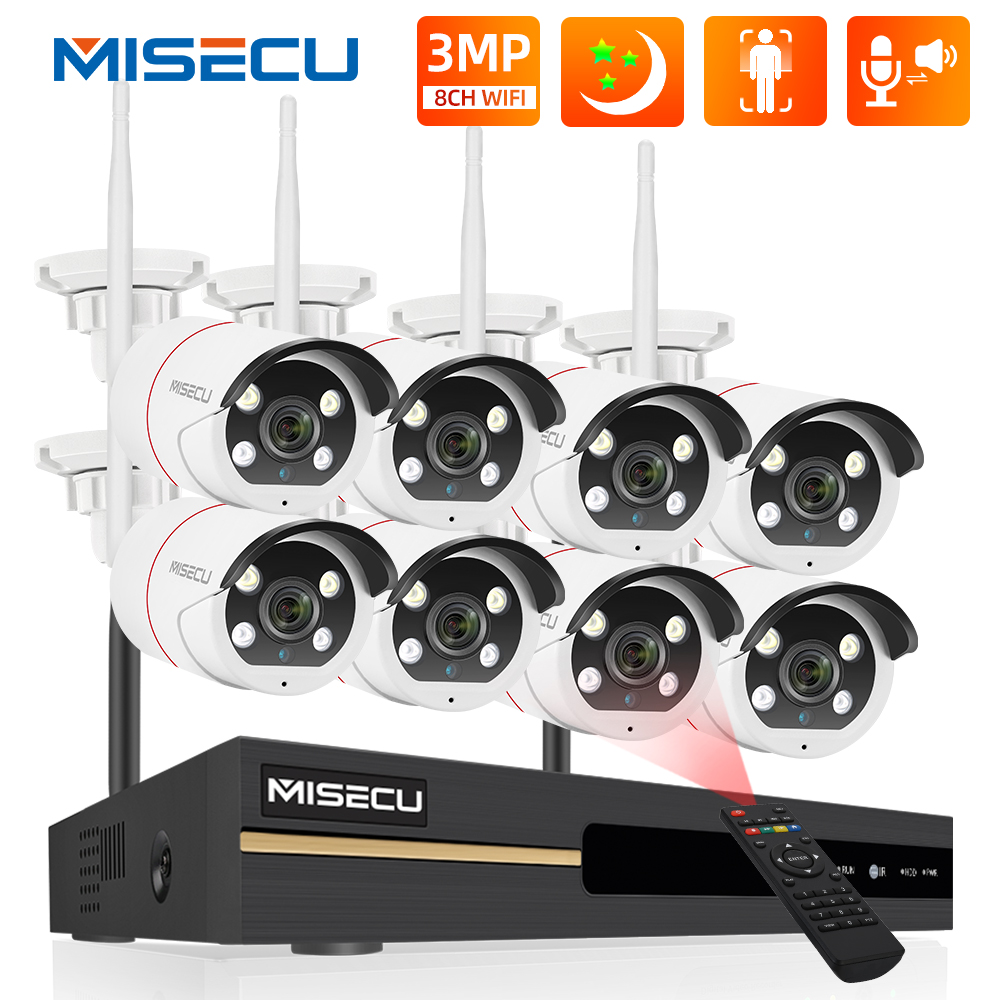 MISECU 8CH 3MP Wireless Camera System Ai Human Detection Full Color Night Two-Way Audio CCTV VIdeo Security Surveillance Kit P2P