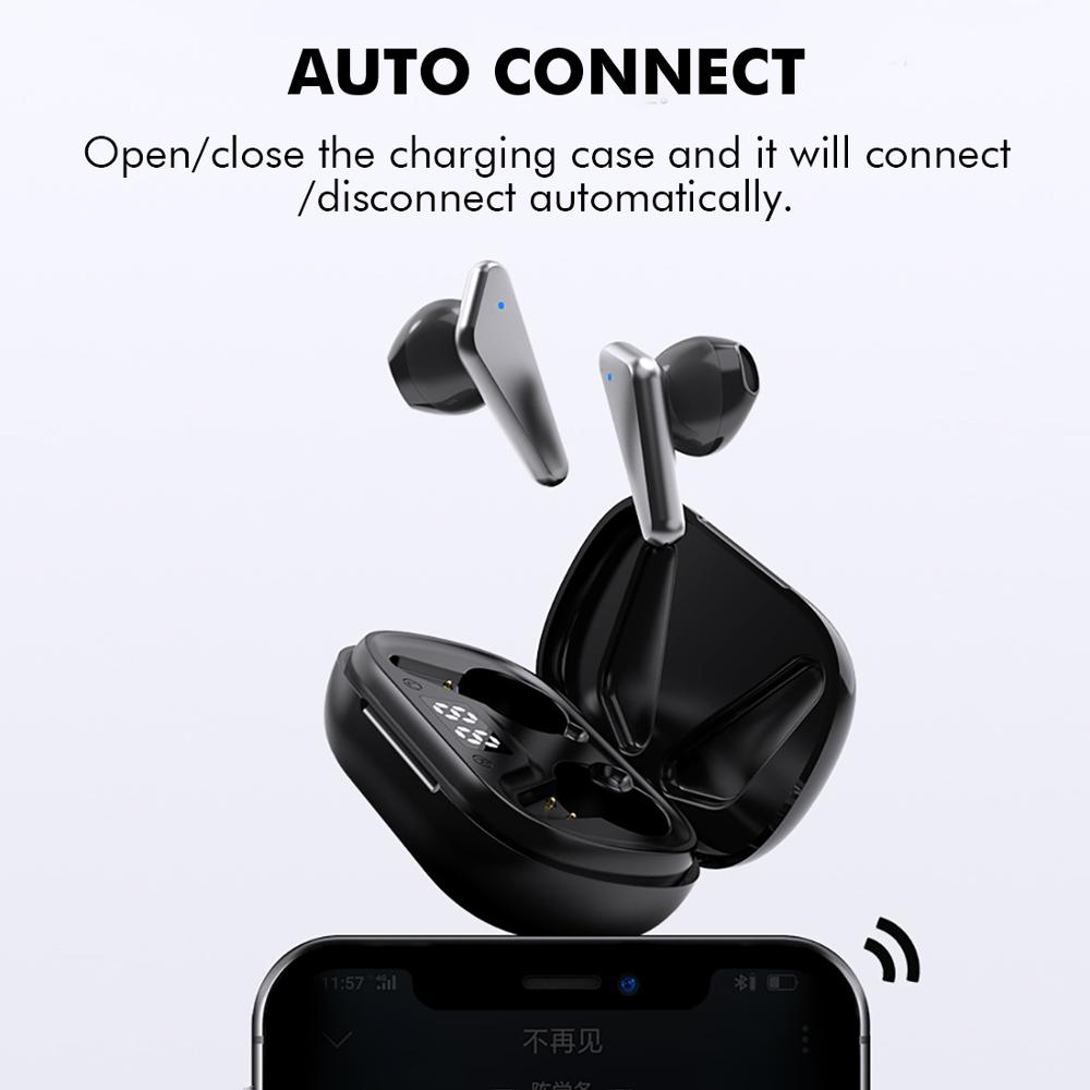 S15 Bluetooth 5.0 Wireless Headphones Earphones TWS Hifi Headset Bass Earbud with Power Display Touch Control Ear Detection 5