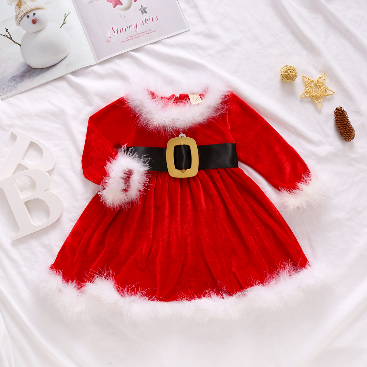 Infant Baby Girl Christmas Dress Red Velvet Fly Sleeve High Waist Midi Princess Santa Dress Christmas Outfit Xmas Clothes