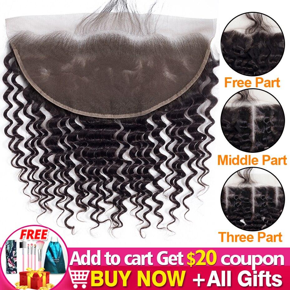 Groß Verkauf Spitze Frontal 13x4 Tiefe Welle Menschliches Haar 4x4 Curly Lace Schließung Mit Baby Haar freies Nahen Drei Teil Jarin Haar