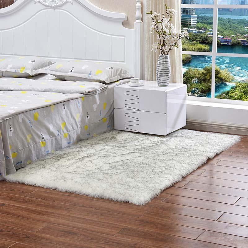 Очень мягкие прямоугольные коврики из искусственного меха овчины для спальни, напольный ворсистый шелковистый плюшевый ковер, белый ковер из искусственного меха, прикроватные коврики - Цвет: white1