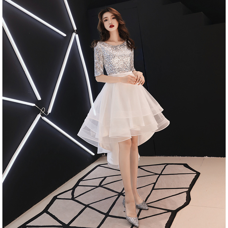 Evening Gown Women's 2019 New Style Banquet Elegant White Short-height Nobility Debutante Dress Slimming Autumn Clothing