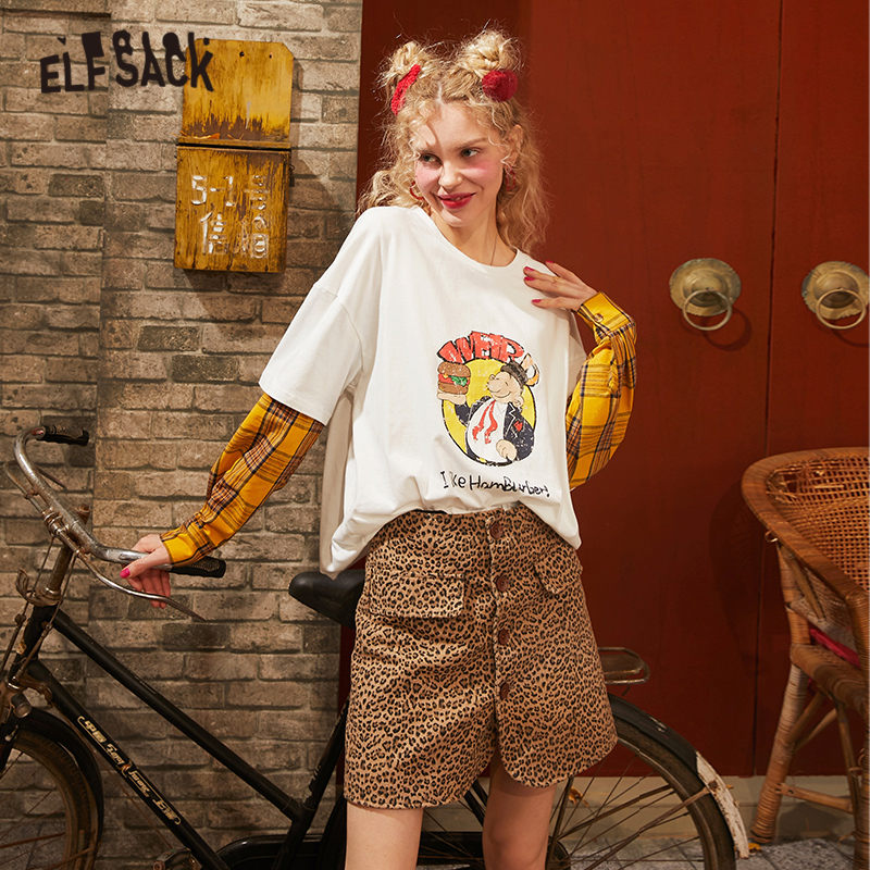 ELFSACK Leopard Single Button Casual Vintage Sexy Skirt Women 2020 Spring New A Line Pocket Short Skinny Female Daily Skirts