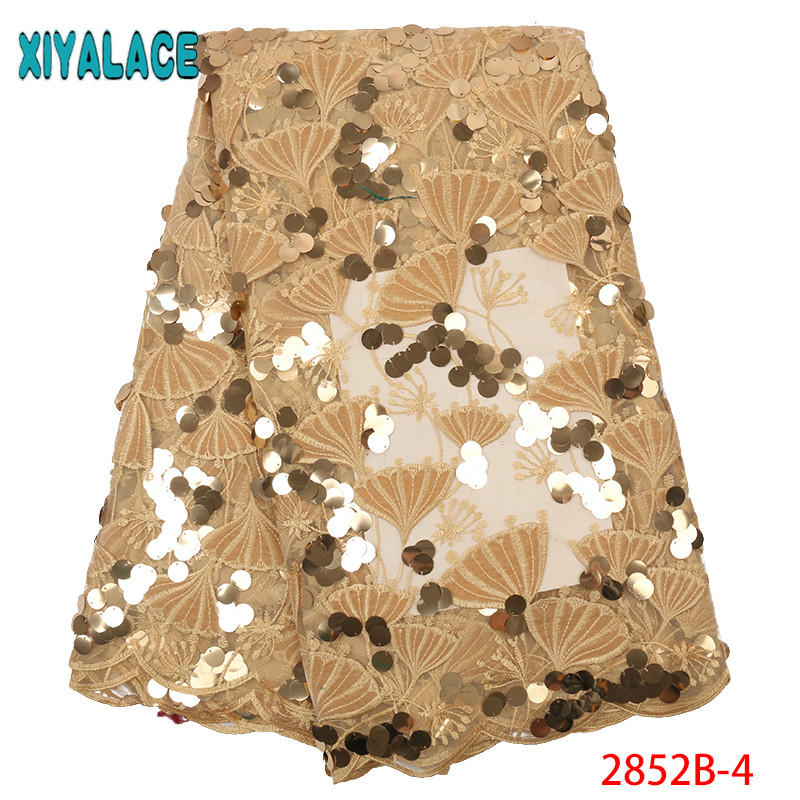 High Quality Sequins African Nigeria Lace Fabric, Velvet And Sequin Lace 2019,African Lace Fabric For Nigerian Party KS2852B-4