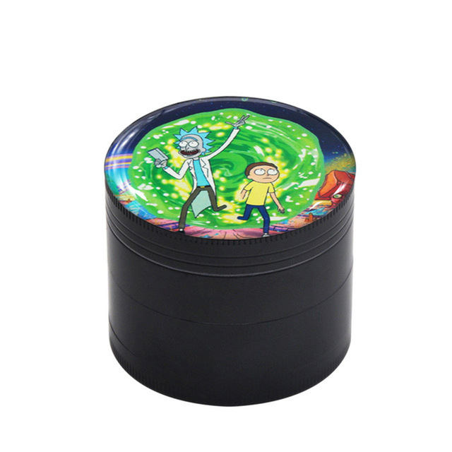 50MM Domed Sticker Rick and Morty Smoking grinder Zinc Alloy Metal Herb Grinder  4 Layers Tobacco Grinder Herb Crusher 11