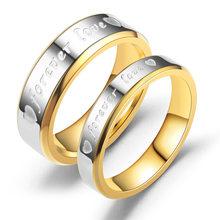 20 peças/lote mix para sempre amor carta anéis por atacado para amantes casamento bandas noivado anel de aço inoxidável para jóias femininas