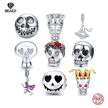 100% 925 Sterling Silver Rock Skull Ghost Face Bead Charms Fit Original BISAER Bracelets Women jewelry Accessories berloques - discount item  30% OFF Fine Jewelry