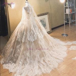 Image 2 - جوليا كوي رائع الشمبانيا الكرة ثوب الزفاف مع كم طويل أنيق الزفاف الدانتيل فستان الزفاف