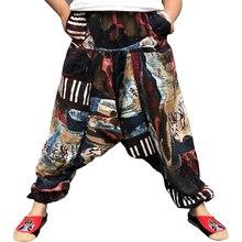 Мешковатые хлопковые льняные шаровары для мужчин хип-хоп размера плюс широкие брюки повседневные свободные винтажные длинные штаны Pantalon Hombre