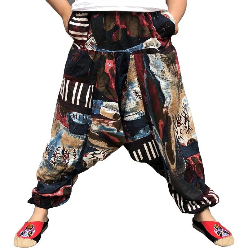 Baggy Cotton Linen Harem Pants Men Hip Hop Plus Size Wide Leg Trousers Casual Loose Vintage Long Pants Pantalon Hombre 2019