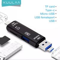 KUULAA todo en uno tipo C USB 3,0 Adaptador Micro USB SD/ Micro SD/lector de tarjetas TF OTG PC Andriod lector externo de tarjetas multimemoria