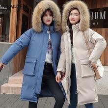 Fur Hooded Long Winter Coat Women Plus Size Solid Pockets Cotton Jackets Coats  Female Korean Thicken Warm Parkas Jacket Casaco цены онлайн