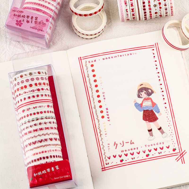 20 pz/pacco Multi-colore del Nastro di Washi Scrapbooking Decorativi Nastri Adesivi di Carta Giapponese Cancelleria Sticker