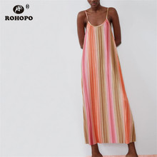 ROHOPO Rainbow Strap Baggy Midi Dress Pleated Wide Striped Accordion Chic Gown Robe # 2364 все цены