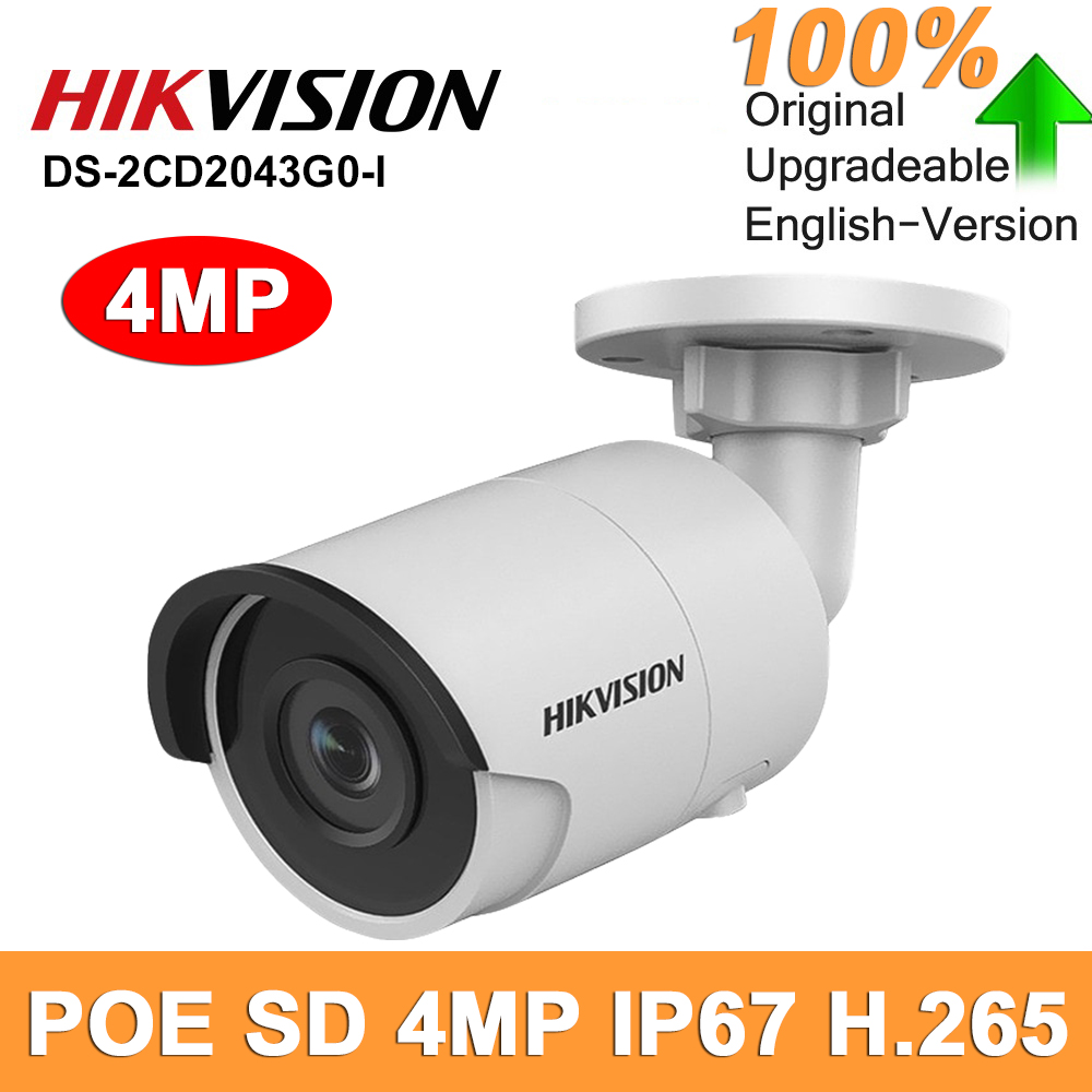 Hikvision DS-2CD2043G0-I Original outdoor IP Camera CCTV 4MP 2043 Security Camera POE SD Card Bullet network Slot H.265 IP67 MIC image