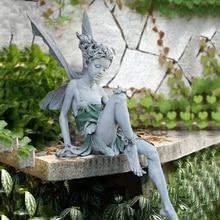 Garden Ornament Statue Crafts Sculpture Tudor Fairy-Portraits-Figurine Sitting Home-Decoration