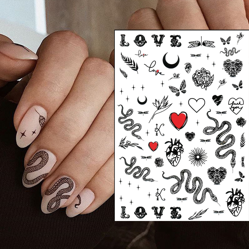 2020 Hot DIY 3D Nail Art Sticker Adhesive Sticker Decals Tool Black Snake Deisgn Nail Art Tattoo Decoration Wholesale Z0299
