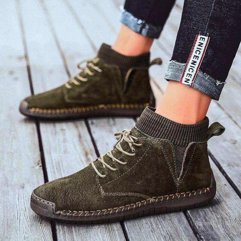 Hommes chaussette chaussures neige bottes haut baskets cuir véritable luxe concepteur décontracté haute qualité marche noir marque taille 13 travail
