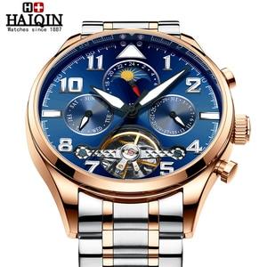 Image 4 - HAIQIN Mechanical Mens watches top brand luxury watch men Business Military wristwatch men Tourbillon Fashion 2019 reloj hombres
