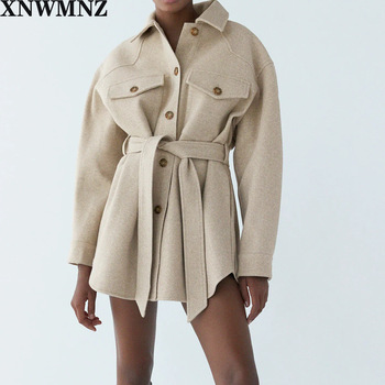 XNWMNZ Za Women 2020 Fashion With Belt Loose Woolen Jacket Coat Vintage Long Sleeve Side Pockets Female Outerwear Chic Overcoat 1