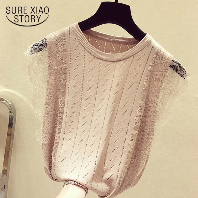 Summer Sleeveless Lace Knitted Shirt 2020 Korean Patchwork Tops Women O-Neck Solid Hollow Out Clothes Mesh Chic Blusas 8795 50