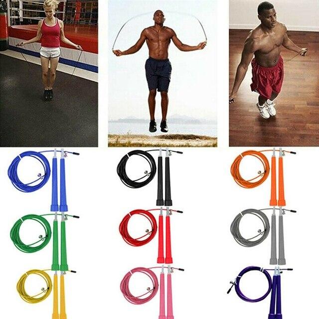 W 3 mètres fil dacier sauter sauter roulements vitesse rapide réglable corde à sauter Fitnesss équipement exercice entraînement pied unisexe
