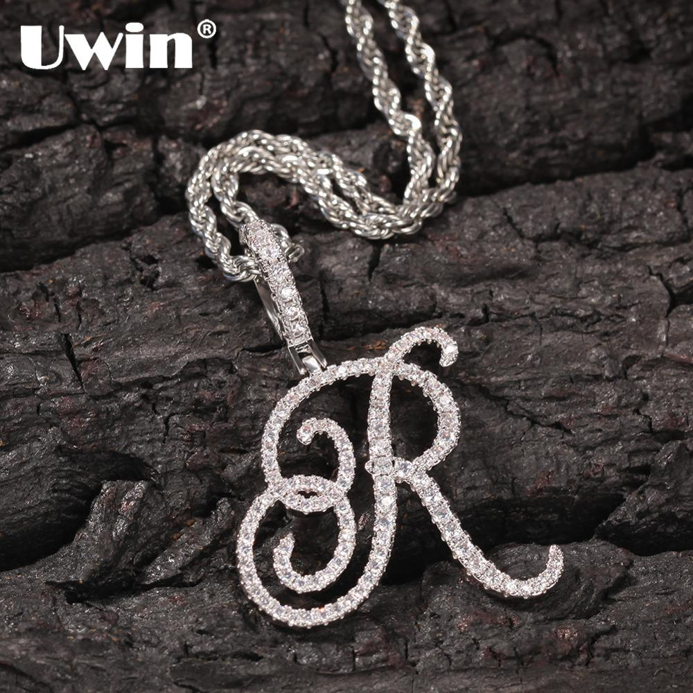 UWIN Hip Hop Necklace A-Z Artistic Initial Letters Pendant Hip Hop Cubic Zircon Charm Jewelry Silver Color for Men and Women