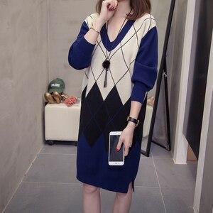 Image 2 - PLUSขนาดArgyle Pulloversเสื้อกันหนาวผู้หญิงแฟชั่นคอVคอชุดวินเทจVINTAGE Patchwork Ladyถัก