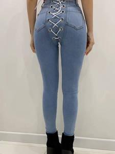Instahot Jeans Women Pants Skinny-Trouser Lace-Up Cowboy High-Waist Summer Ladies Pencil