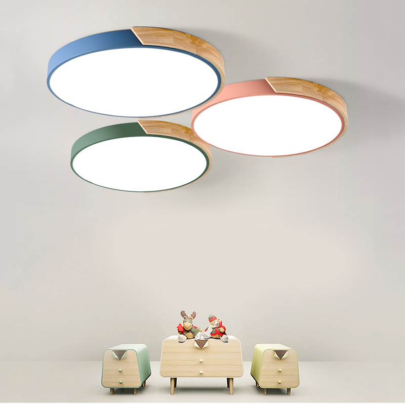 Modern Nordic Ceiling Light Acrylic Panel Living Room LED Wood Ceiling Lamp Surface Mount Remote Control Lamps For Dining Room