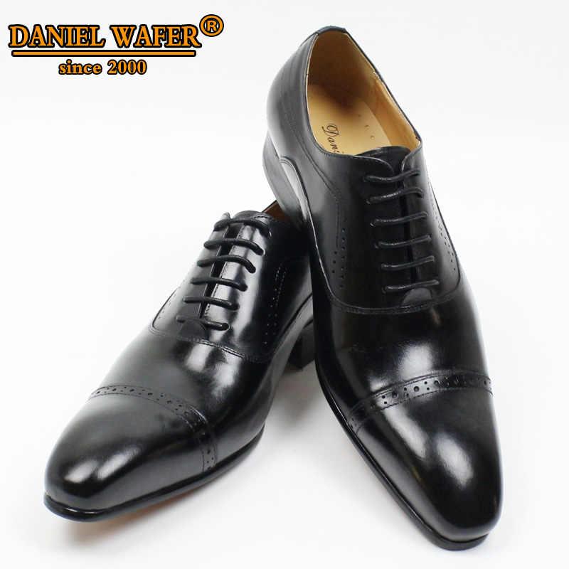 جلد طبيعي أكسفورد فستان أحذية الرجال الدانتيل يصل قبعة تو مكتب أحذية الزفاف الأسود براون البروغ أشار أوكسفورد أحذية رسمية الرجال