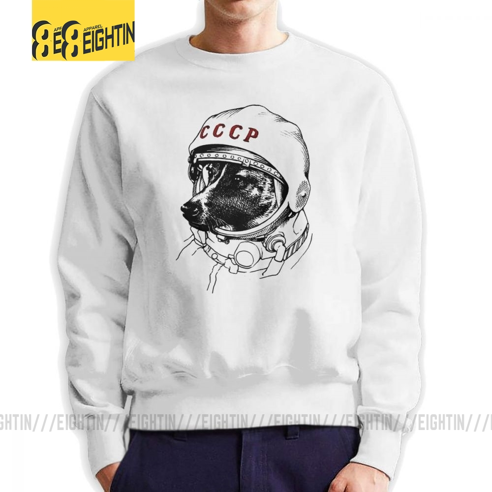 CCCP Rusia Laika Space Traveler Urss Comunismo Astronauta Dog Men Sweatshirts Novelty Pure Cotton Pullover Original Hoodie Men