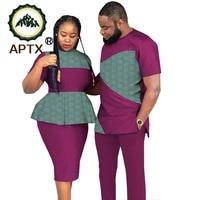 APTX couple suit jacquard fabric Men's top&pants suit + women dress couple clothes T2016752