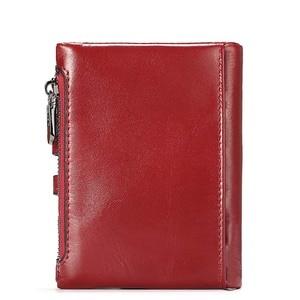Image 4 - 本革の女性の財布ショートコイン財布ファッション赤レディースカードバッグ小さな女性掛け金ミニクラッチガール高品質