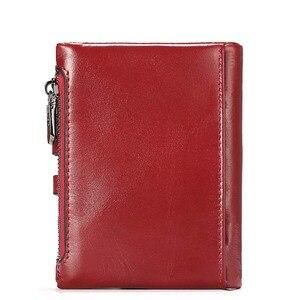 Image 4 - Portefeuille en cuir véritable pour femmes, porte monnaie court pour femmes, porte monnaie mode rouge, sac carte, petit loquet pour filles, Mini pochette de haute qualité