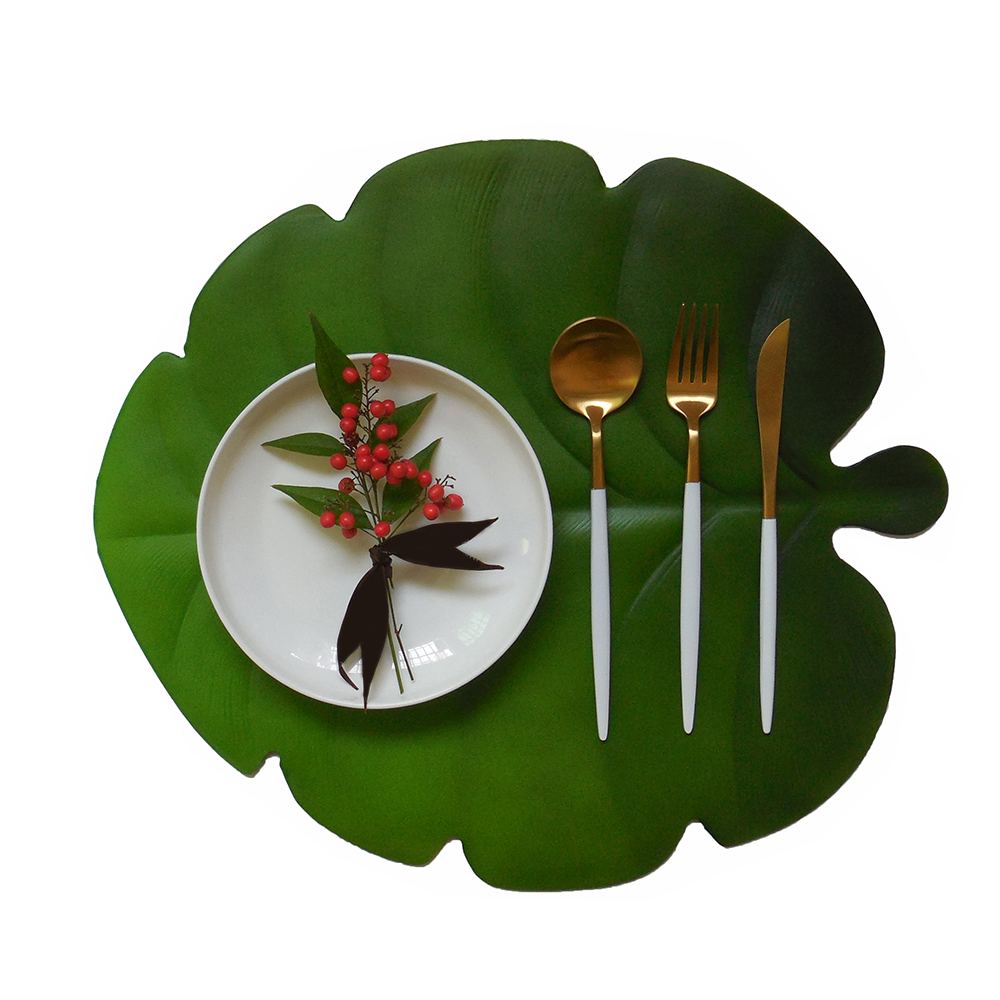 Kitchen Placemat Artificial Leaves Pvc Dining Table Mat Maple Pads Bowl Pad Coasters Waterproof Home Table Decor Pad in Mats Pads from Home Garden