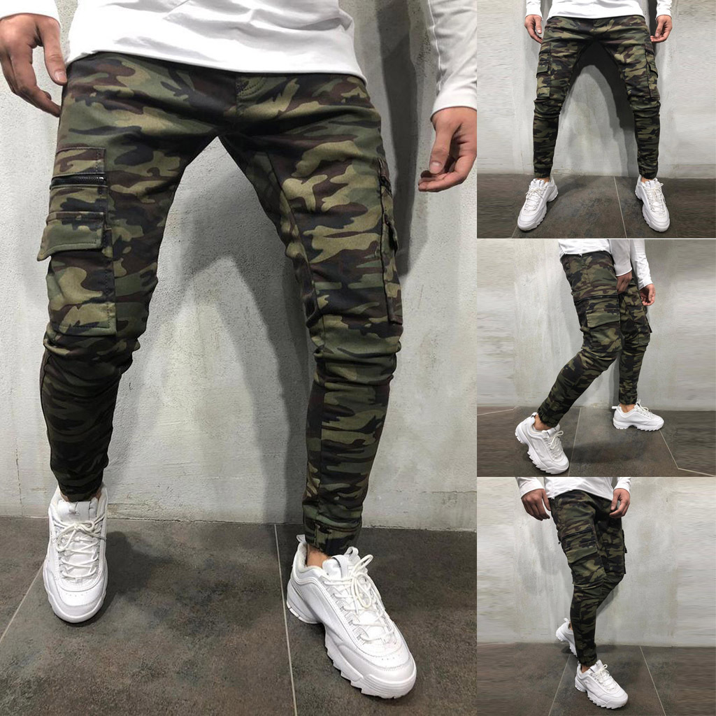 Europe And America New Style Camouflage Bib Overall Multi-pockets Men Skinny Elastic Slim Fit Fashion Jeans Fashion