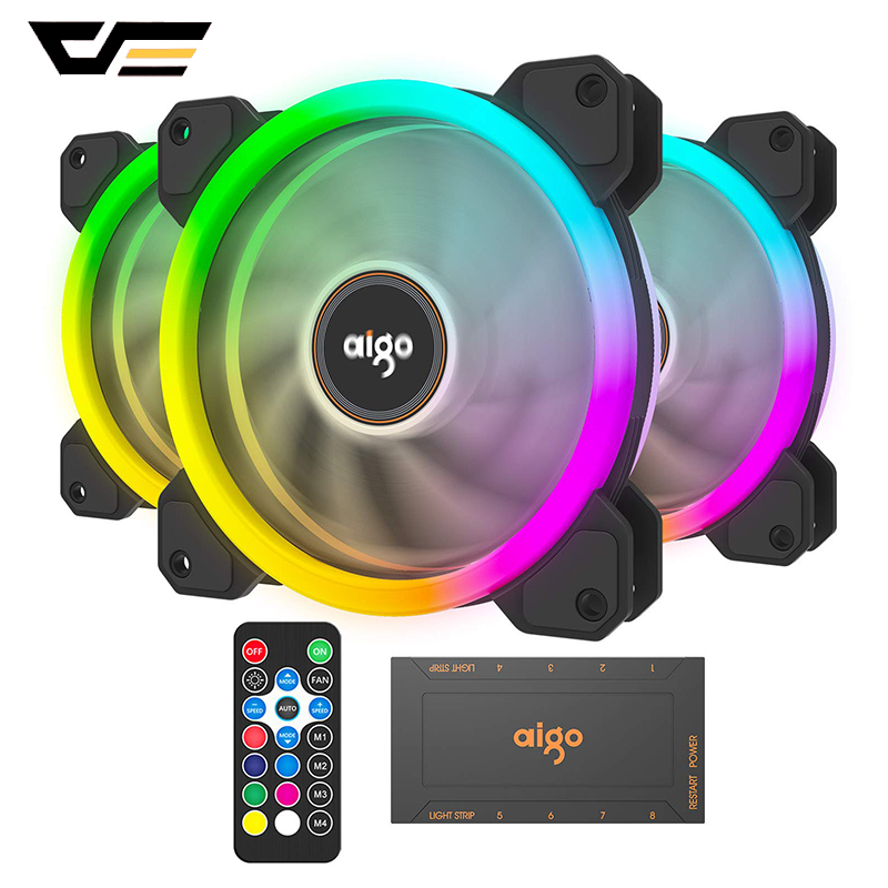 Aigo New DR12 120mm RGB Case Fan LED Adjust Speed Quiet Computer Case PC Cooling Fan for Computer Case CPU Cooler and Radiator