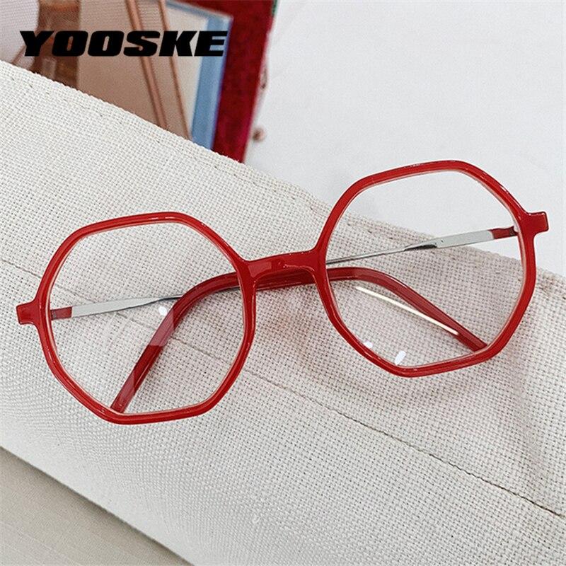 YOOSKE Transparent Glasses Frames Men Polygon Vintage Eyeglasses Frame For Women Irregular Fake Spectacles Frame