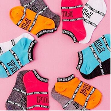 Woman Casual Socks 5 Pairs Pink Happy Motion Colorful Funny Girl Letter Football Creative Letters Short Ankle