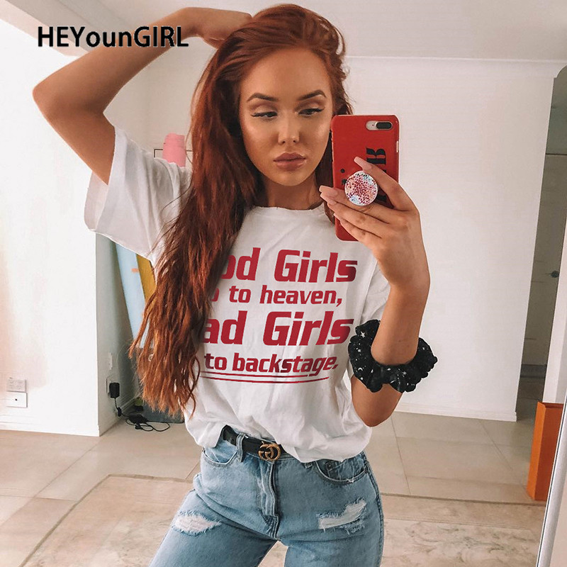 HEYounGIRL Letter Printed Short Sleeve T-shirt Women Summer White Casual Tshirt Ladies Fashion Oversized Top Tee Streetwear 2020
