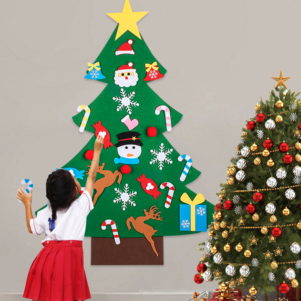 Best Artificial Christmas Trees 2020.Diy Felt Christmas Tree 2020 New Year Gifts Kids Toys Artificial Tree Wall Hanging Ornaments Christmas Decoration For Home Modern Christmas