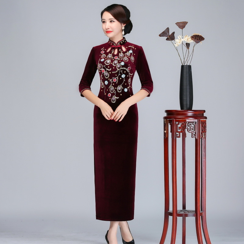 2019 New Quinceanera Velvet Cheongsam Nail Bead Cultivate Morality Show Thin Long Wholesale Restoring Ancient Ways Is Improved