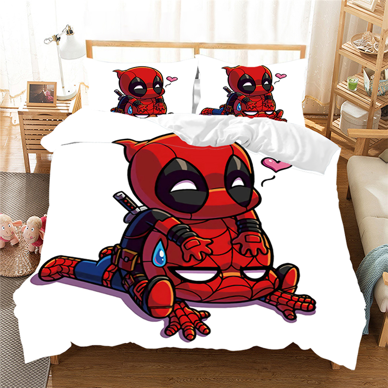 Disney Deadpool Bedding Set for Adult Duvet Cover King Queen Size Printing Bed Set Movies Home Textiles Bedclothes(NO Sheet)