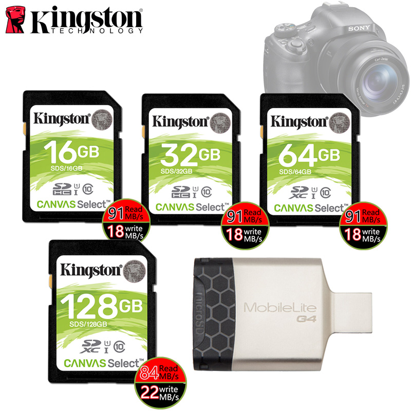 Kingston SD Card 32 GB 64 GB 128 GB Memory Card Cartao De Memória SDHC/SDXC Micro SD Card 16 GB For DSLR HD Digital Sport Camera