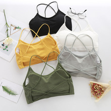 Sexy Wrapped Chest Gather Back Hollow Cropped Bra Tube Top Women Lace Beauty Underwear
