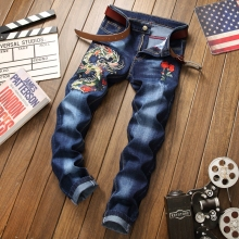 Homme jeans men ripped distressed brand blue denim trousers high quality plus size 29-38 straight male jeans 3D embroidery jeans