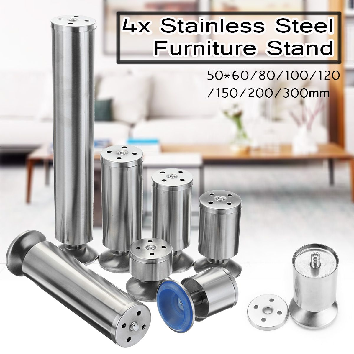 4PCS Stainless Steel Furniture Legs Chair Table Sofa Beds Cupboard Cabinets Furniture Stand Foot Pad