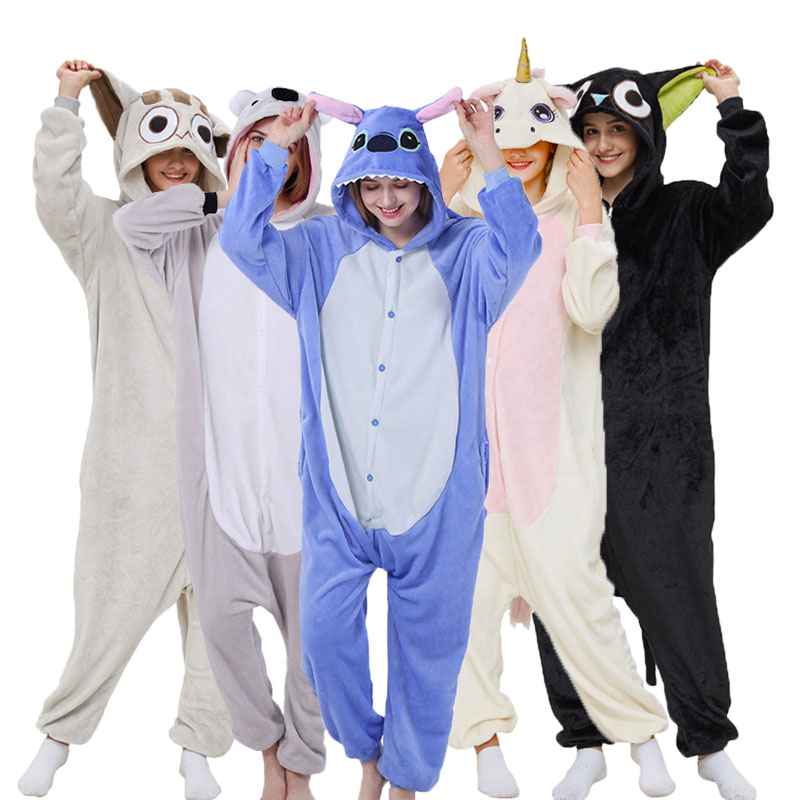 Unicorn Pyjama Animal Women Onesie Flannel Cosplay Totoro Stich Pig Panda Pajama Adult Cartoon Sleepwear