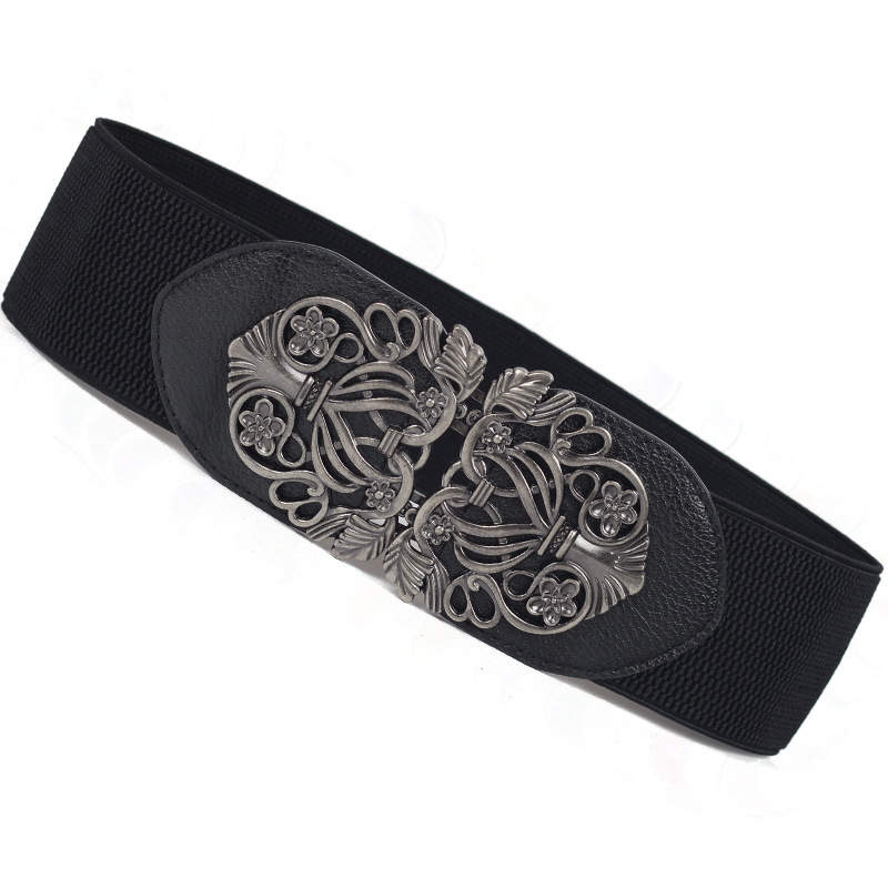 Women's Court Retro Carved Wide Belt With Dresses Fashion Ladies Waist Elastic Band Hook Belt Elastic Belt Wild Women Wide